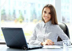 woman working in a private office rental