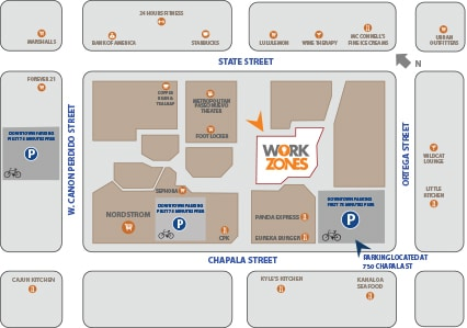 Workzones in downtown Santa Barbara CA