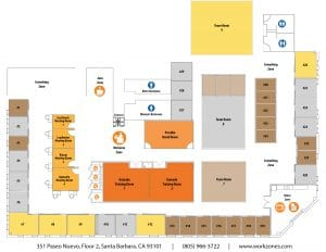 Layout of private offices, flex desks, conference rooms and meeting rooms at Workzones in Santa Barbara